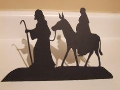 Joseph and Mary on Donkey Silhouette