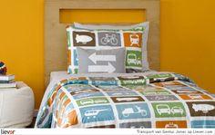 Transport - Genius Jones - beddengoed - kussens, mooie kleur geel