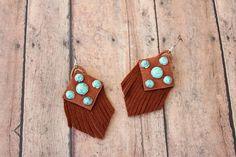 Turquoise and Saddle Leather Fringe Earrings on Etsy by BuckskinBetty