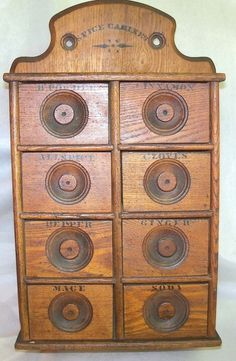 Old Antique Oak Wood Stencil Wall Mount 8 Drawer Spice Cabinet Box