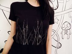 Raven Black hand Screen printed T shirt by lavirintArt on Etsy