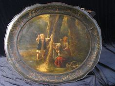 RARE Antique English Tole Hand Painted Tray Children Playing 1820 Marked | eBay