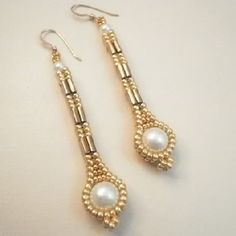 Herringbone with TIla Beads, Pattern from: http://www.jewelrylessons.com/tutorial/long-pearly-tila-earrings