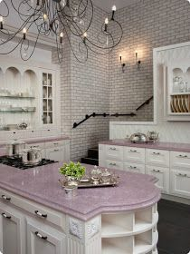 Soft pink kitchen counters