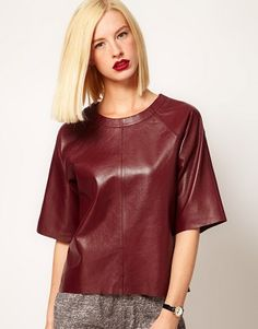 Buy ASOS Leather T-Shirt at ASOS. Get the latest trends with ASOS now. Love Fashion, Autumn Fashion, Fashion Outfits, Womens Fashion, Fashion Design, T-shirt En Cuir, Leather T Shirt, Leather Tops, Leather Jacket