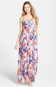 FELICITY & COCO Geo Print Empire Waist Maxi Dress (Regular & Petite) (Nordstrom Exclusive) available at #Nordstrom