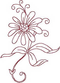 Redwork Daisy Embroidery Design