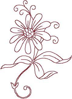 Redwork Daisy Embroidery Design