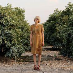 vintage mustard stripe dress
