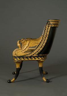 A Giltwood And Ebonized Fauteuil En Gondole With Swan Arm Supports offered by Carlton Hobbs, LLC on InCollect Furniture Styles, Cool Furniture, Modern Furniture, Furniture Design, French Furniture, Antique Furniture, Egyptian Home Decor, Hanging Tent, Modular Furniture