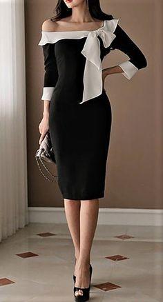 Plus Size Black Bow Sheath Midi Dress Bodycon Fashion, Hijab Fashion, Fashion Dresses, Trendy Dresses, Cute Dresses, Casual Dresses, Black Midi Dress Bodycon, Dress Black, Vetement Fashion