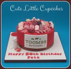 Chocolate Cake decorated with a butchers shop theme for the owners birthday celebration x Celebration Cakes, Birthday Celebration, 50th Birthday, Birthday Cakes, Butcher Shop, Small Cake, Yummy Cupcakes, Love Cake, Buttercream Frosting