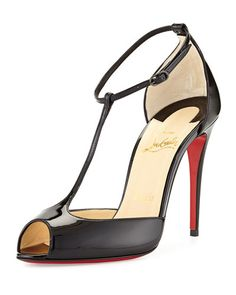 Christian Louboutin Patent Leather Peep Toe T-strap pumps