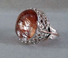 ring-silver,rose gold,rutilated quartz