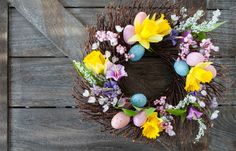 Buy Happy Easter by BarbaraNeveu on PhotoDune. Decorative wreath made from twigs and flowers for easter Floral Flowers, Floral Wreath, Wooden Wreaths, Spring Design, How To Make Wreaths, Daffodils, Grapevine Wreath, Happy Easter, Living Room Decor