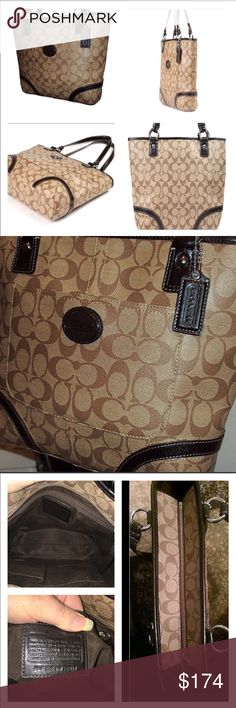 Coach Peyton Tote F18917 RETIRED & RARE EUC Coach Peyton Tote in PVC Signature Tan and Brown with Black Patent Leather Trim and Handles (drop 8.75) Inside is lined, has 1 zip and multiple  slip pockets, the exterior has a full size slip pocket in front! Very Clean, no signs of wear! 👜 this precious measures 14 X 11 X 2.75 research price for fair sell is $178-240 Coach Bags Shoulder Bags