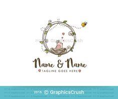 OOAK Bird and Bee Logo Design Baby Clothing Boutique Logo
