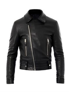 $3,074, Balenciaga Leather Biker Jacket. Sold by MATCHESFASHION.COM. Click for more info: https://lookastic.com/men/shop_items/59951/redirect