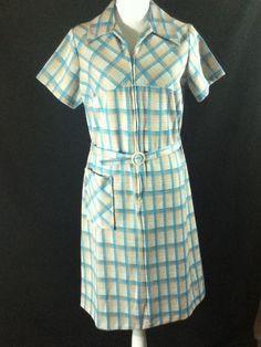 "#Vintage #60s Zip Front #House #Shift #Dress Plaid Windowpane Belted Sz M L 40"" Bust"