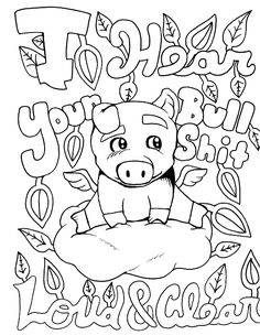 Pig Coloring Page With Swear Word