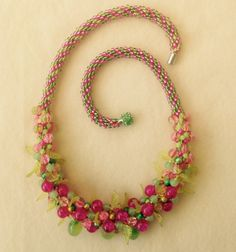 Summer dream. Bead weaving pink and green necklace