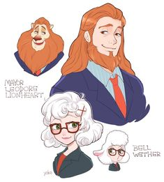 Mayor Leodore Lionheart and Assistant Mayor Dawn Bellwether as humans Zootopia