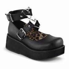 Demonia Sprite-02 goth gothic lolita mary jane platform matte black shoes 6-12