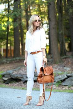 Cognac Accessories - White Jean Outfit Ideas Perfect for Summer - Photos