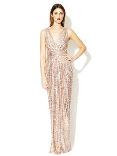 Sequin V-Neck Gown by Badgley Mischka at Gilt