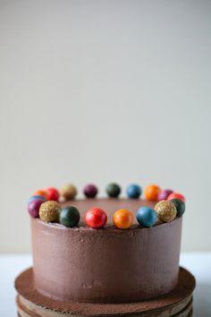 Chocolate cake with marzipan balls.