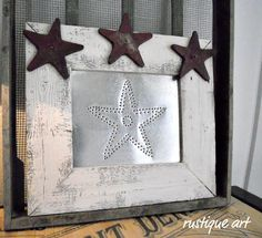 Framed Punched Tin Star Rustic by rustiqueart on Etsy Rustic Frames, Rustic Art, Sheet Metal Crafts, Diy Crafts For Adults, Adult Crafts, Tin Star, Picture Frame Decor, Western Decor, Diy Photo