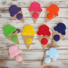 Toddler color match game makes learning colors both educational and lots of fun. Kids learn their colors with this fun felt ice cream set. Perfect