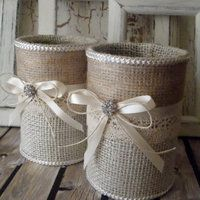 Burlap vases or containers  #decor #burlap #vases