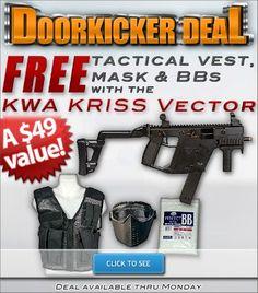 FREE tactical vest, mask & BB's with KWA Kriss Vector! http://www.pyramydair.com/s/m/KWA_KRISS_Vector_GBB_Submachine_Gun/2786?utm_source=pinterest&utm_medium=social&utm_campaign=airs-doorkicker-deal-kwa-kriss-vector