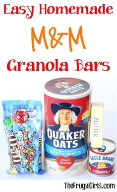 Homemade M&M Granola Bars Recipe! ~ from ~ the perfect afternoon treat or snack for school lunches!Easy Homemade M&M Granola Bars Recipe! ~ from ~ the perfect afternoon treat or snack for school lunches! Easy Homemade Snacks, Easy Snacks, Yummy Snacks, Snack Recipes, Bar Recipes, Healthy Snacks, Dessert Recipes, Yummy Food, Breakfast Recipes
