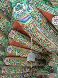 South Korea Buddhist Temple  Painted Timbers