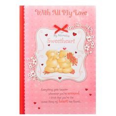Adorable Valentine Day Greeting For Love WITH ALL MY LOVE..for my Adorable Sweetheart..Everything gets happier whenever you're around, I think that you're the nicest thing my heart has found. Cards size: 14.5 inches x 9.5 inches. Rs. 350 : http://hallmarkcards.co.in/collections/valentines-cards/products/valentine-day-greeting