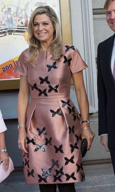 Queen Maxima of The Netherlands (wearing a dress by Flemish designer Natan) arrive for festivities marking the final celebrations of 200 years Kingdom of The Netherlands on September 26, 2015 in Amsterdam, Netherlands