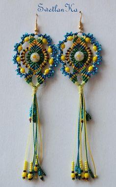 TUTORIAL EN micro macrame earrings Nawruz by TreasuresOfCrafts