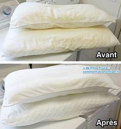Astuce pour laver, nettoyer et blanchir des oreillers Pour nettoyer les oreillers jaunis : 1/3 d'eau très très chaude 1 tasse de lessive 1 tasse de poudre pur lave-vaisselle 1 tasse de javellisant 1/2 tasse de sel ou une autre recette avec des cristaux de soude : Comment Faire 1. Vérifiez l'étiquette de l'oreiller pour être sûr que vous pouvez le laver à la machine. La plupart le permettent, sauf ceux à mémoire de forme. 2. Remplissez la machine à laver avec 1/3 d'eau très chaude. Vous…