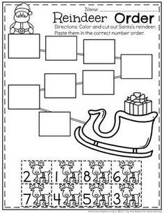 Reindeer Number Order Worksheet for Preschool