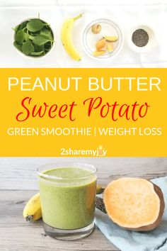 Peanut Butter Sweet Potato Smoothie (vegan) Combat sweet craving with this sweet peanut butter sweet potato smoothie without added sugar. The 350 calorie green smoothie is also great for weight loss. Diet Smoothie Recipes, Smoothie Ingredients, Smoothie Diet, Fruit Smoothies, Healthy Smoothies, Healthy Snacks, Breakfast Smoothies, Juice Recipes, Workout Smoothie