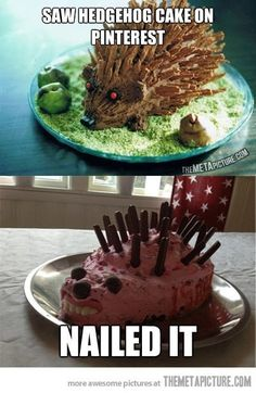 So unbelievably appropriate!  28. Hedgehog Cake | Community Post: 31 Horrendous Pinterest Fail Monstrosities - i laugh till i hurt everytime i see this......cakes with teeth!!!