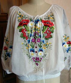 Russian folk costume - Page 12 - Chatter Mexican Outfit, Mexican Dresses, Simple Embroidery, Hand Embroidery Designs, Embroidery Fashion, Embroidery Dress, Ethno Style, Mode Boho, Embroidered Clothes
