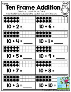 Ten Frame Addition- TONS of printables that help teach core concepts for Kindergarten!