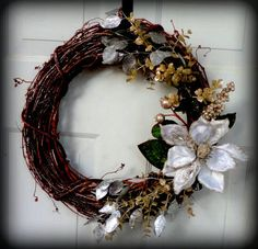 Christmas Wreath - Holiday Wreath - Holiday Door Hanging - Door Decoration - Christmas Decoration - Grapevine Wreath. $35.00, via Etsy.