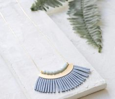 Long Leather Fringe Necklace / / / Half Moon in Pale Blue