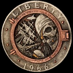 """David Jones' locker"" clad coin carving by Aleksey Saburov with gold & copper inlay. Buy Coins, Engraving Art, 3d Cnc, Hobo Nickel, Coin Art, Challenge Coins, Rare Coins, Half Dollar, Silver Dollar"