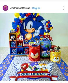 Sonic Birthday Parties, Sonic Party, Baby First Birthday, 7th Birthday, Sonic Cake, Hedgehog Birthday, Happy B Day, Party Themes, Ideas Party
