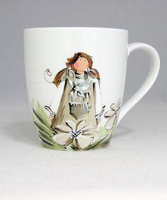 Tasse blanche : : Victoria   *** Produit peint à la main. Stained Glass, Angels, Coffee, Tv, Tableware, Painting, Coffee Time, Porcelain Ceramics, Paintings